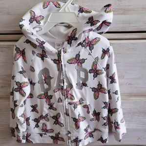 BABY GAP size 2t,Butterfly, Hoodie,Amazing,white